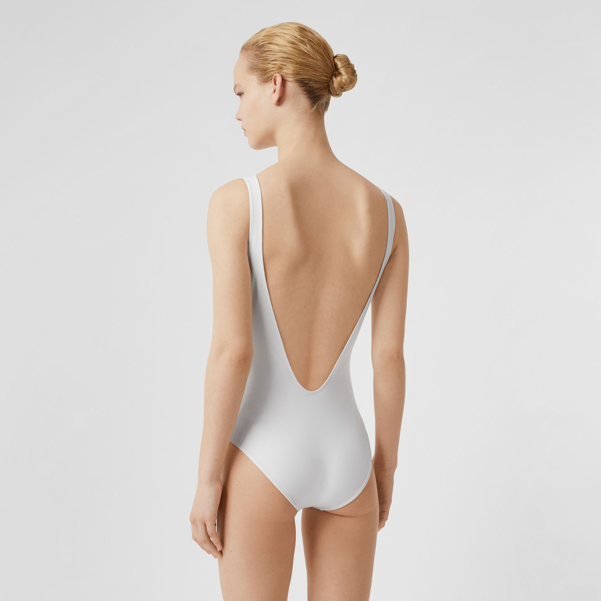 Archive Logo Print Swimsuit in White - Women | Burberry Canada - gallery image 1