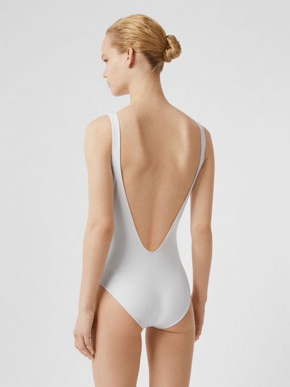 Archive Logo Print Swimsuit in White - Women | Burberry United States - cell image 1