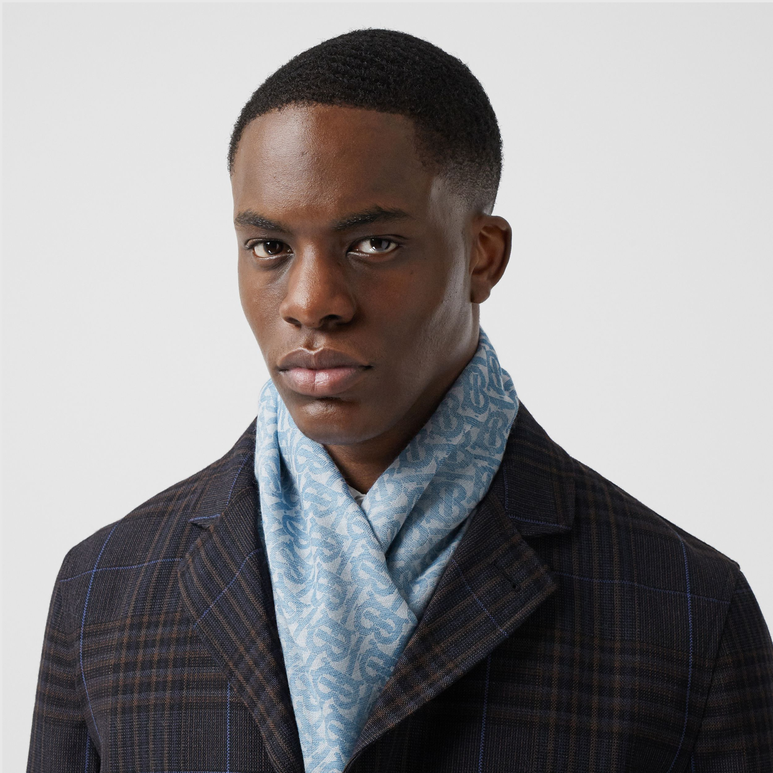 Monogram Wool Silk Jacquard Scarf in Denim Blue | Burberry - 3