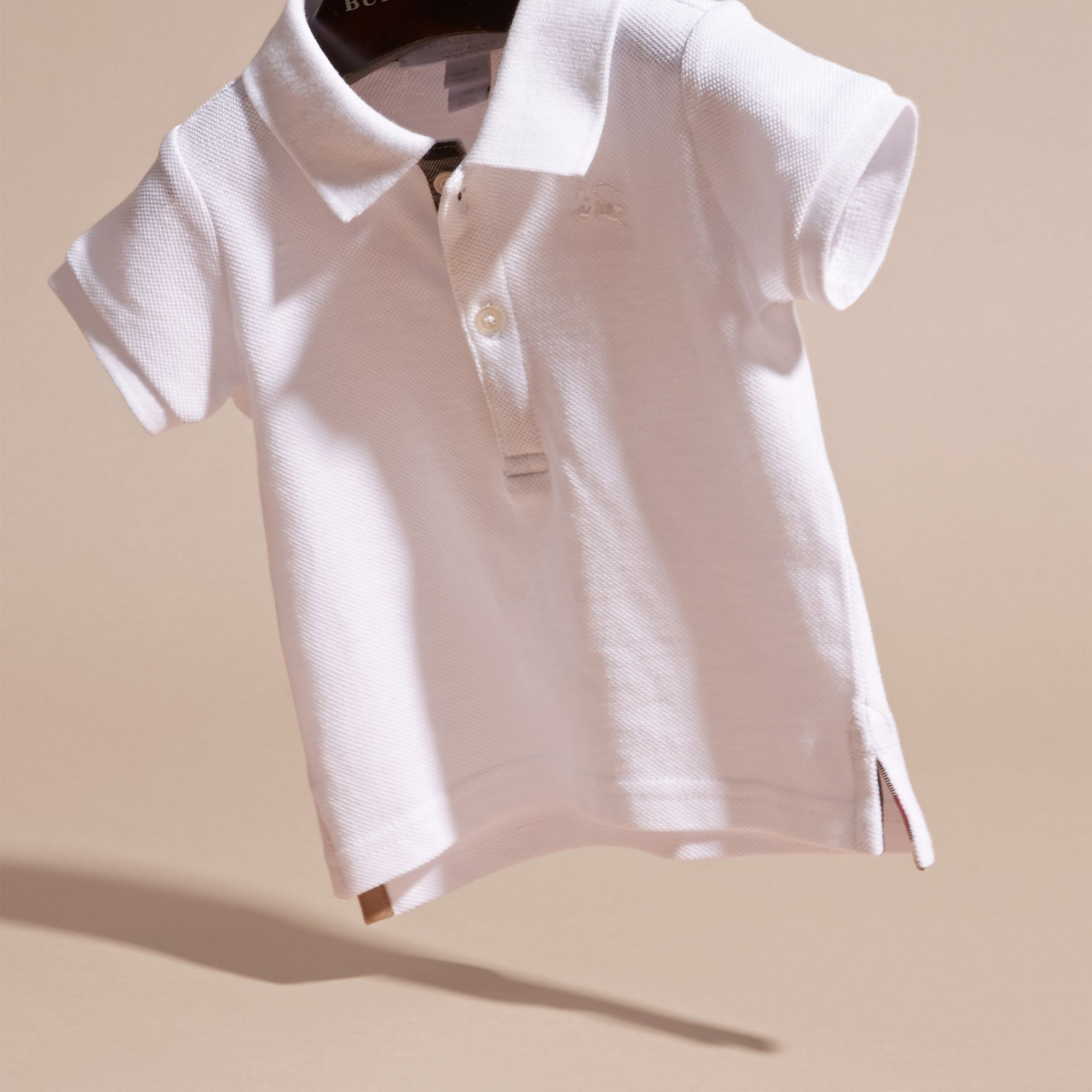 Cotton Piqué Polo Shirt in White | Burberry - gallery image 3