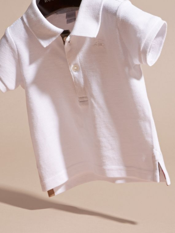 Cotton Piqué Polo Shirt in White | Burberry United States - cell image 2