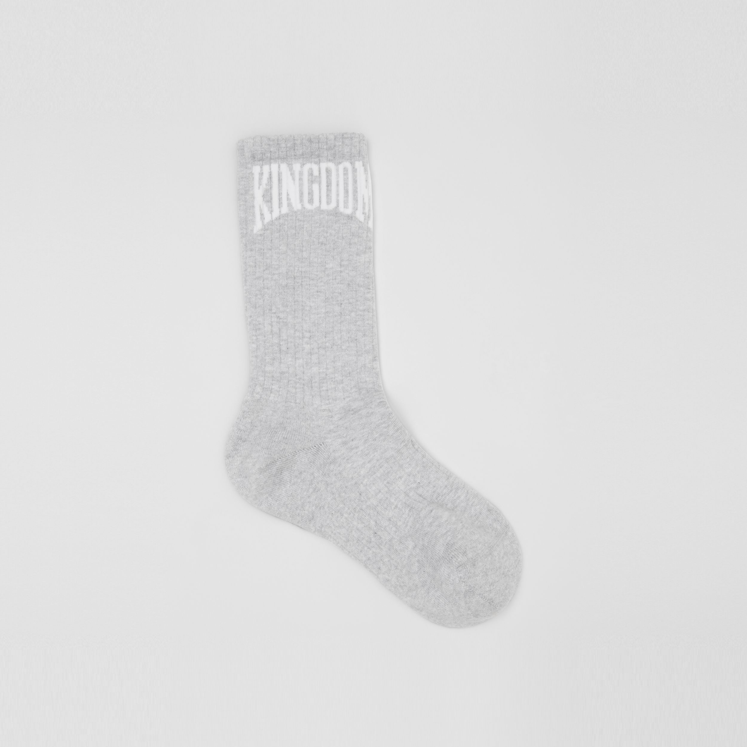 Kingdom Intarsia Cotton Blend Socks in Pebble Grey | Burberry - 1