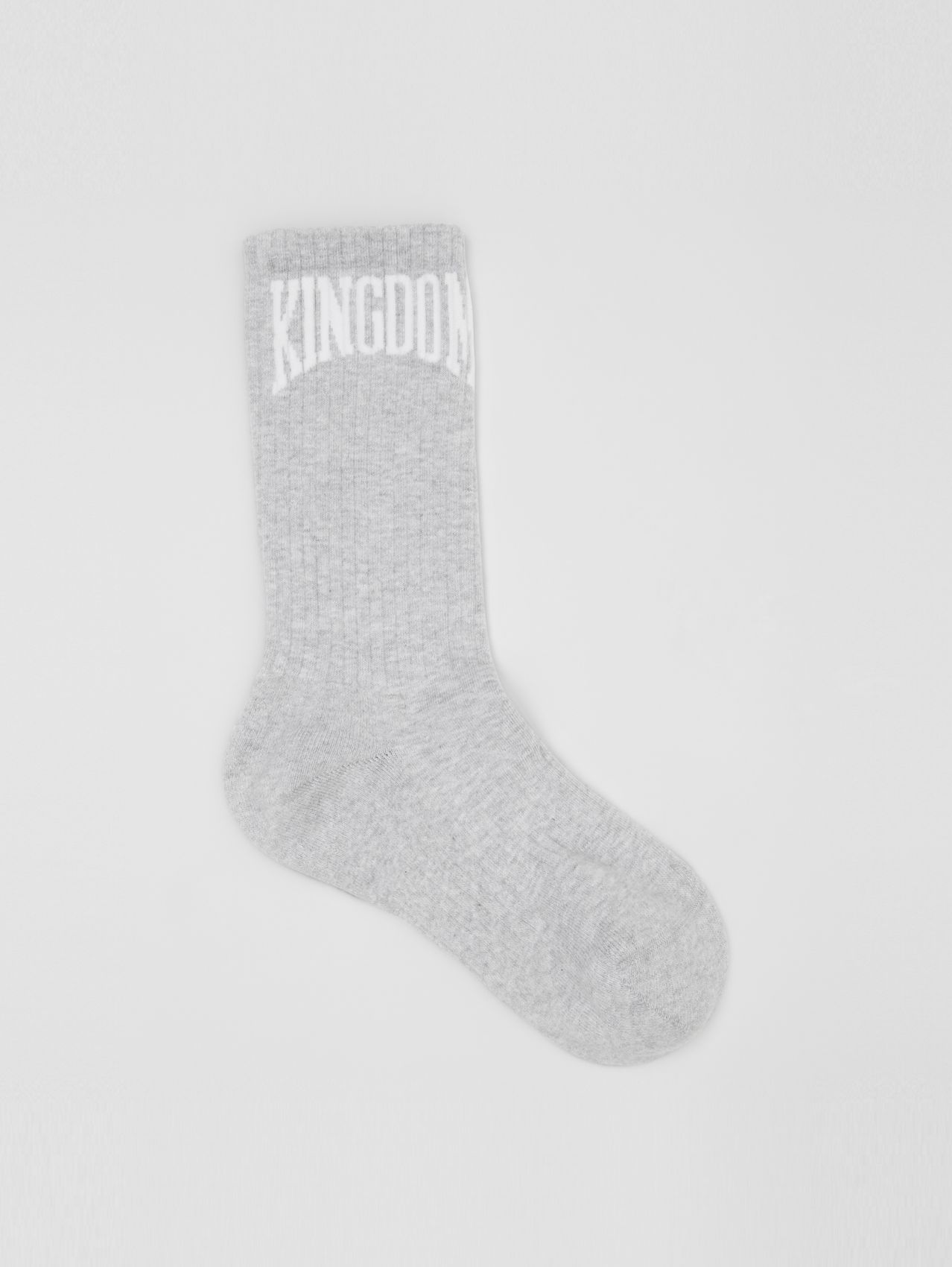 Kingdom Intarsia Cotton Blend Socks in Pebble Grey
