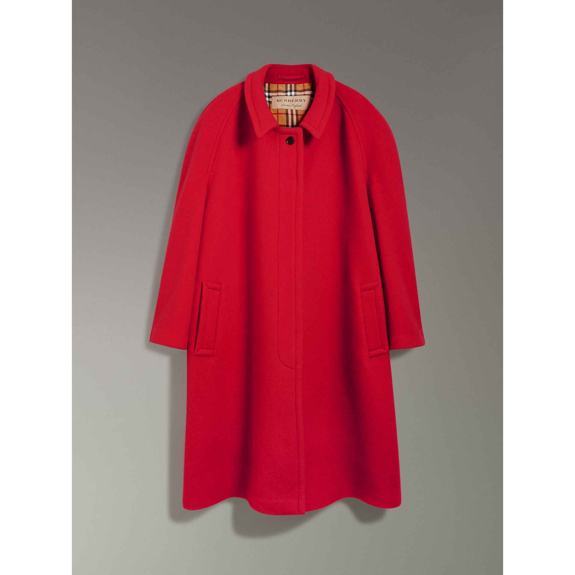 Double-faced Wool Cashmere Oversized Car Coat in Bright Red - Women | Burberry Australia - gallery image 3