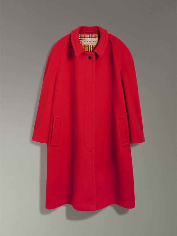 Double-faced Wool Cashmere Oversized Car Coat in Bright Red - Women | Burberry - cell image 3