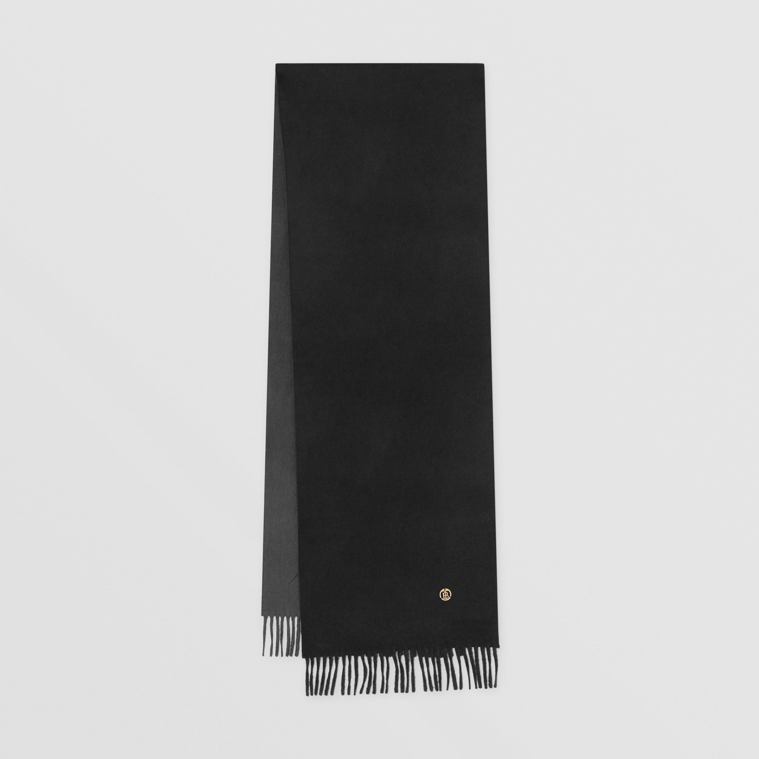 Reversible Monogram Motif Cashmere Scarf in Charcoal Grey | Burberry United States - 1