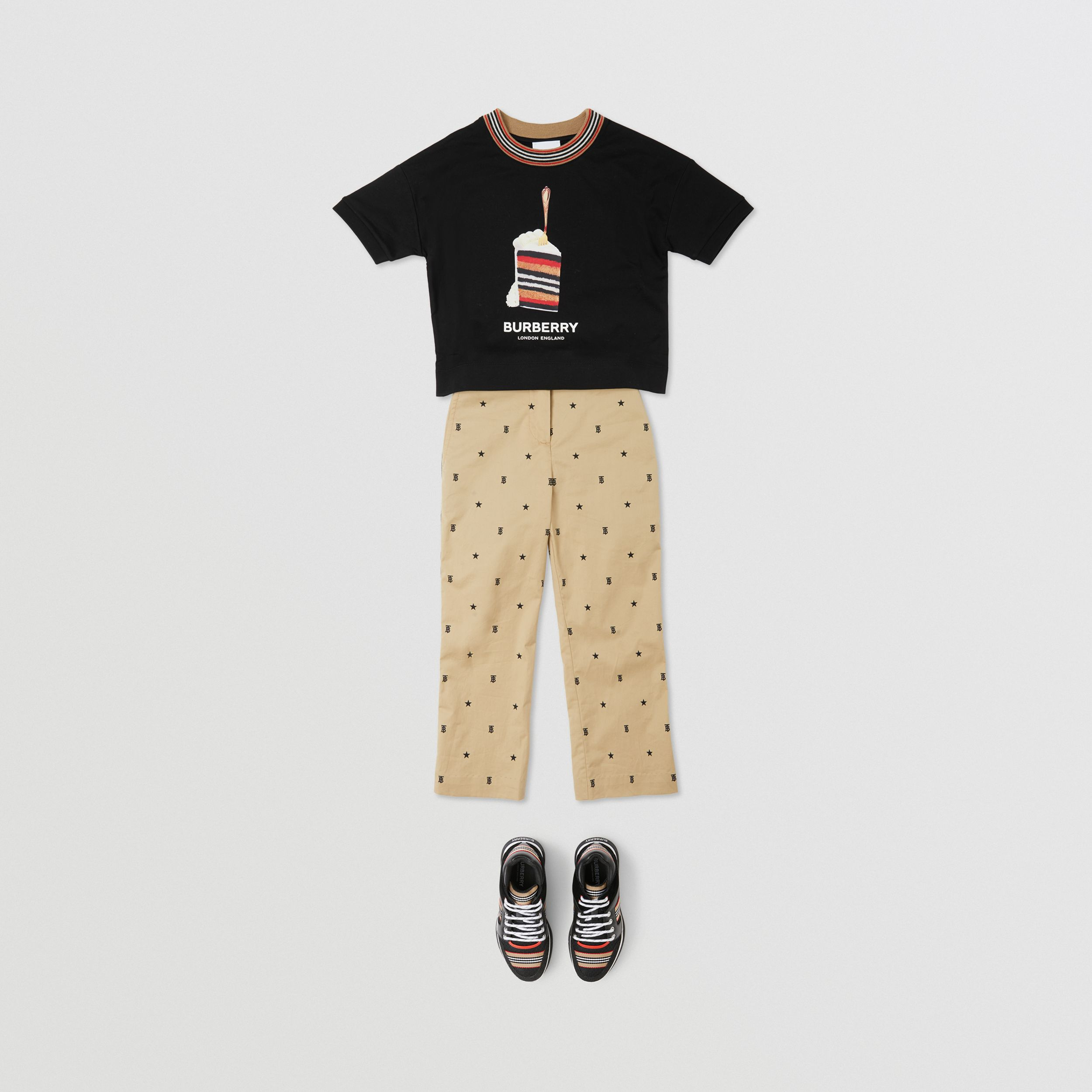 Cake Print Cotton T-shirt in Black | Burberry Canada - 3