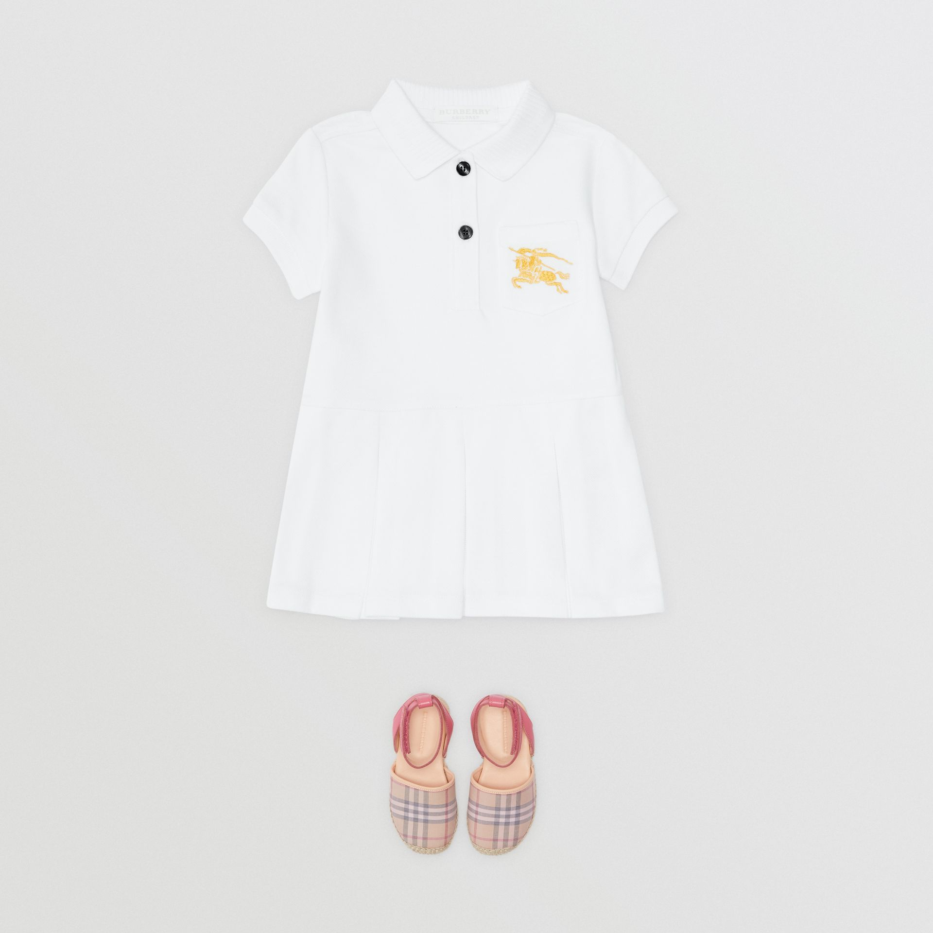 EKD Logo Cotton Polo Dress in White - Children | Burberry United States - gallery image 2