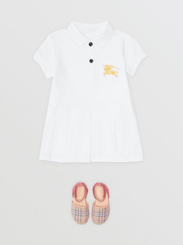 EKD Logo Cotton Polo Dress in White - Children | Burberry - cell image 2