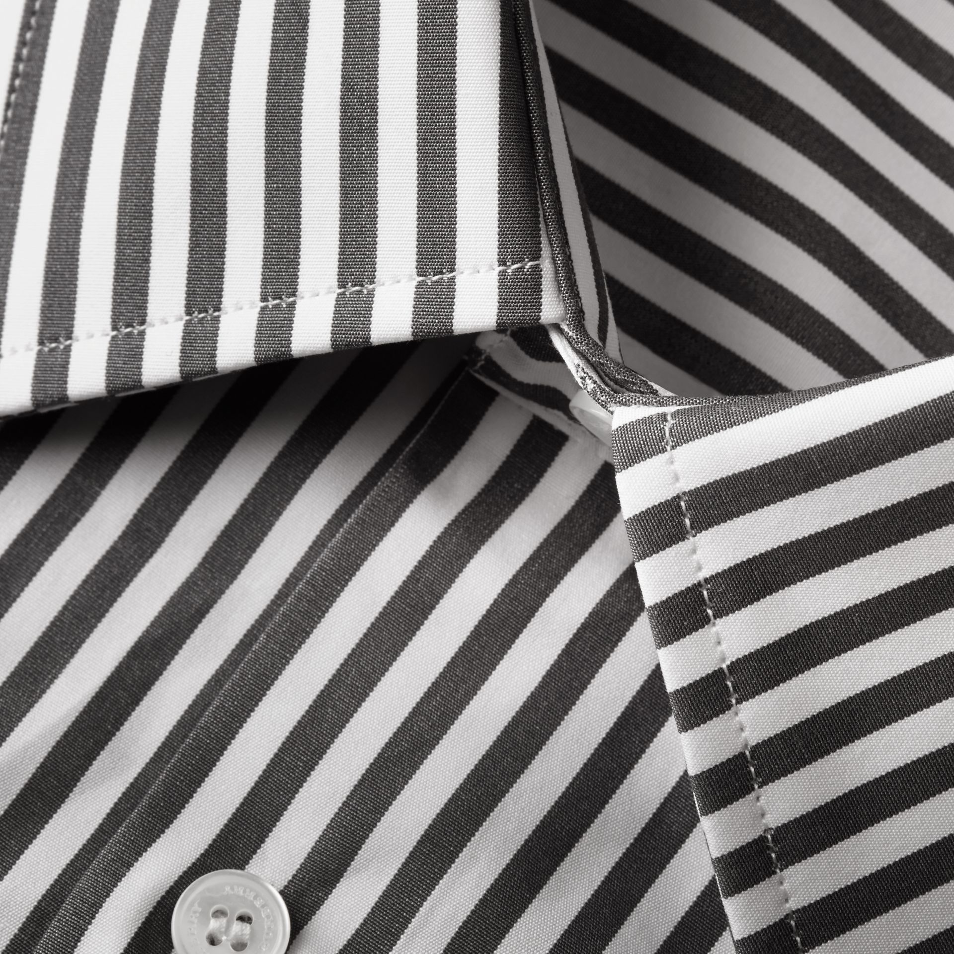 Charcoal Slim Fit Striped Cotton Poplin Shirt Charcoal - gallery image 2
