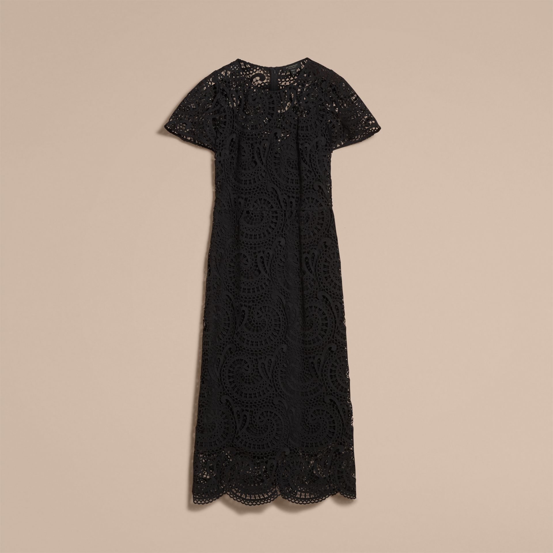Flare-sleeve Macramé Lace Shift Dress - Women | Burberry - gallery image 4