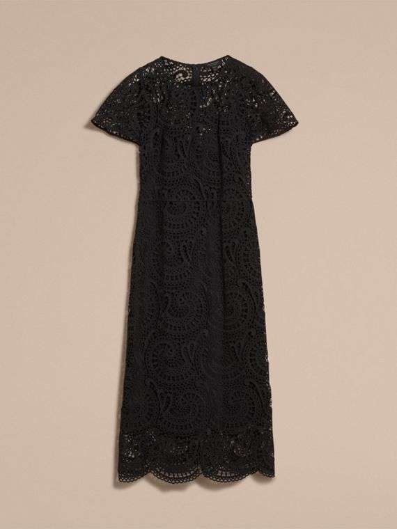 Flare-sleeve Macramé Lace Shift Dress - Women | Burberry - cell image 3