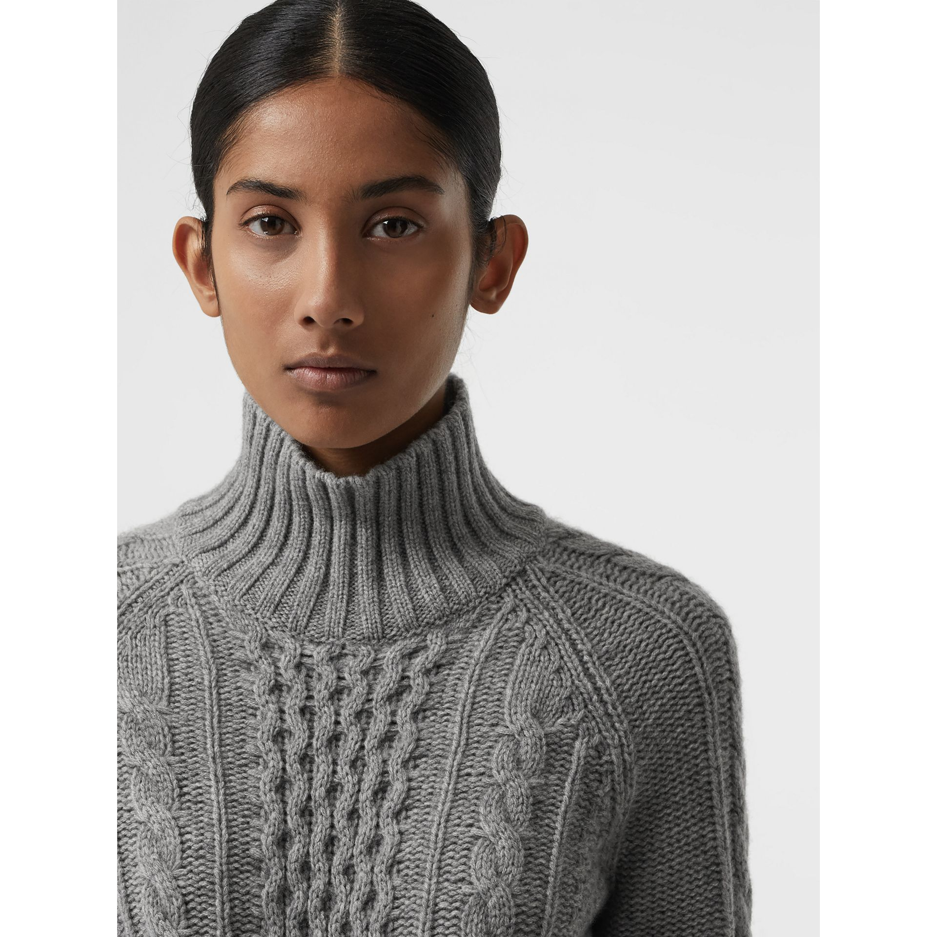 Cable Knit Cashmere Turtleneck Sweater in Mid Grey Melange - Women | Burberry United Kingdom - gallery image 1