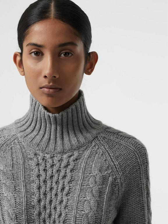 Cable Knit Cashmere Turtleneck Sweater in Mid Grey Melange - Women | Burberry United Kingdom - cell image 1