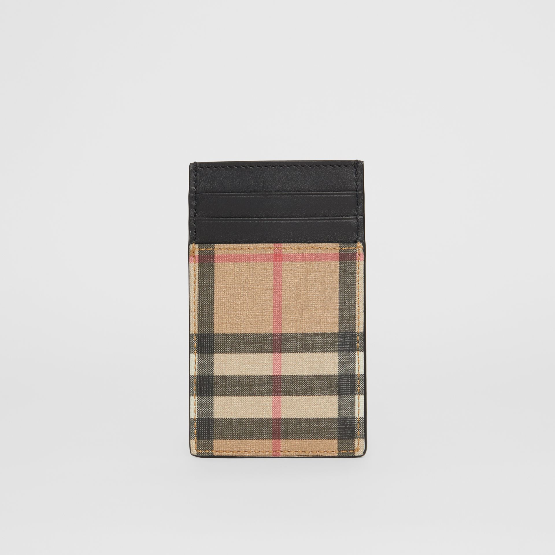 Vintage Check E-canvas and Leather Card Case in Archive Beige - Men | Burberry Singapore - gallery image 3