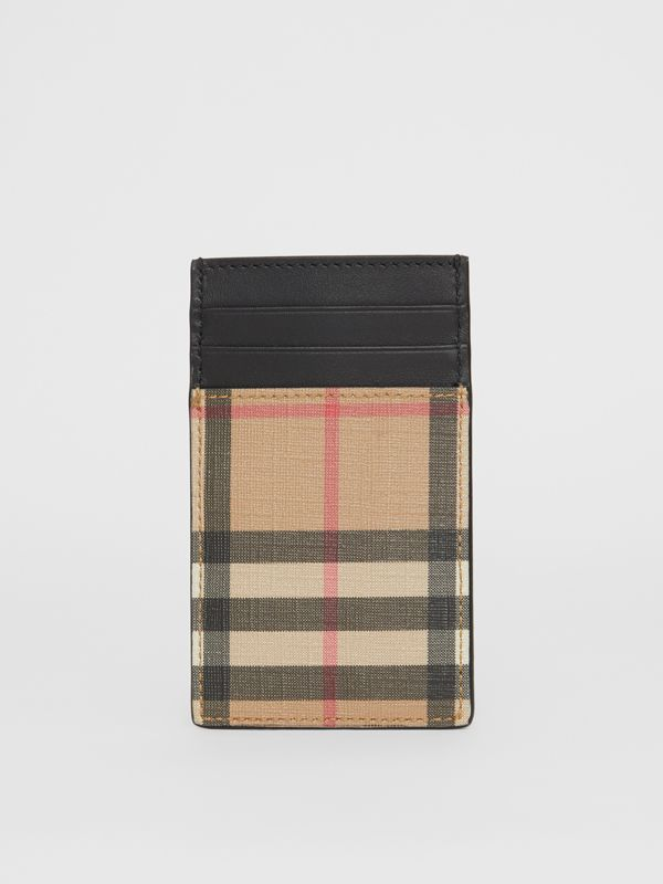 Vintage Check E-canvas and Leather Card Case in Archive Beige - Men | Burberry Singapore - cell image 3