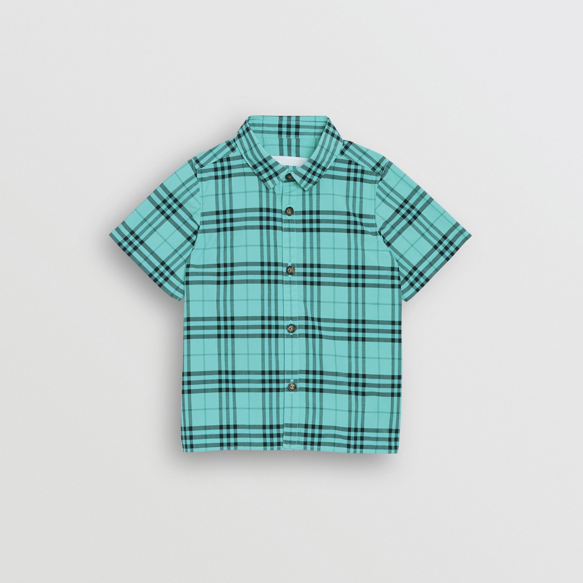 Short-sleeve Check Cotton Shirt in Light Mint - Children | Burberry - gallery image 0