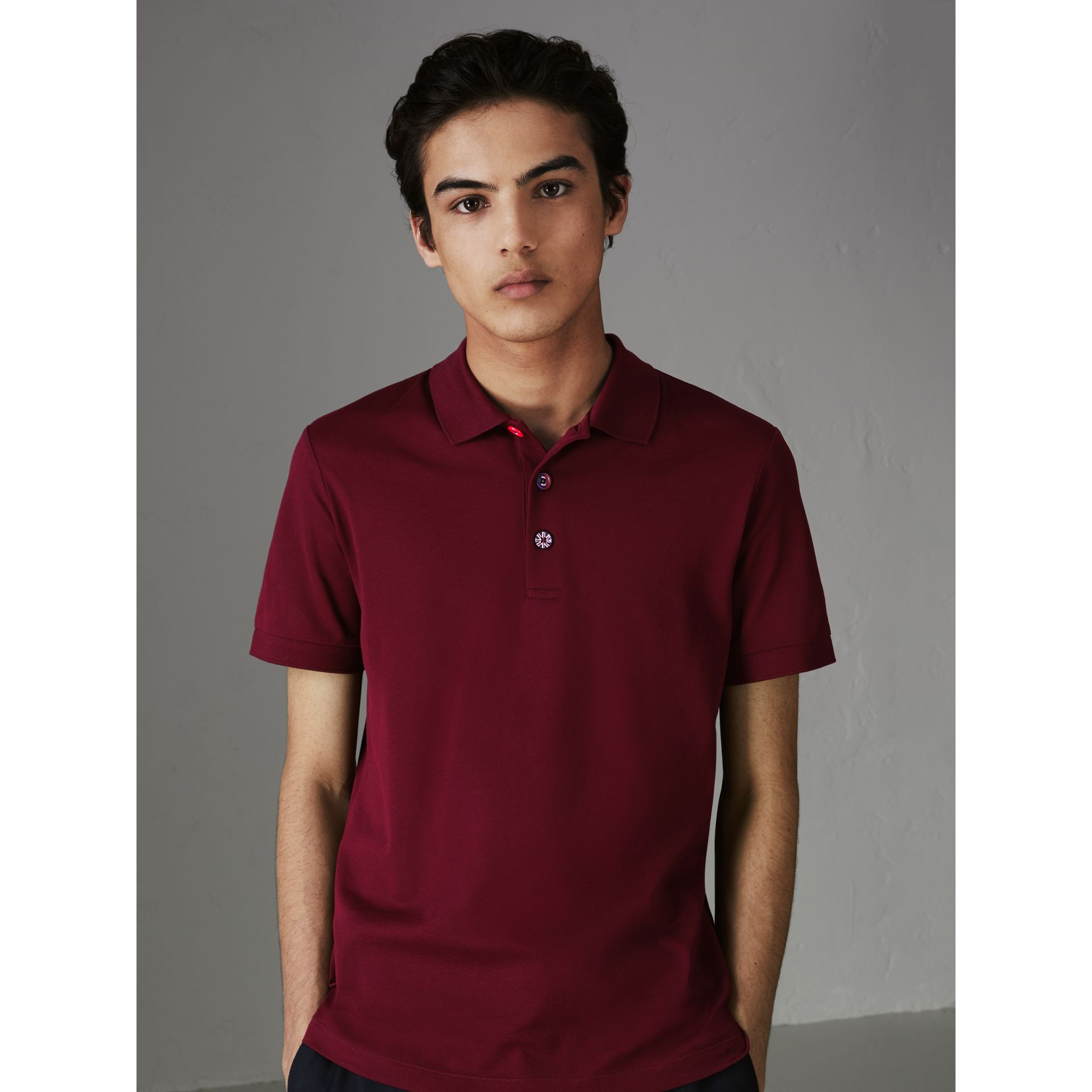 Painted Button Cotton Piqué Polo Shirt in Burgundy Red - Men | Burberry - gallery image 4