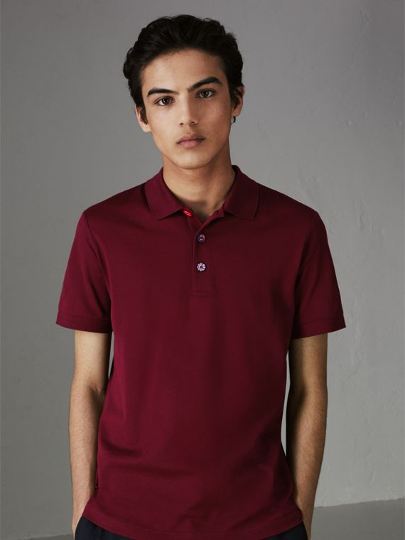 Painted Button Cotton Piqué Polo Shirt in Burgundy Red