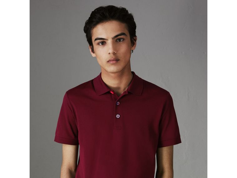 Painted Button Cotton Piqué Polo Shirt in Burgundy Red - Men | Burberry - cell image 4
