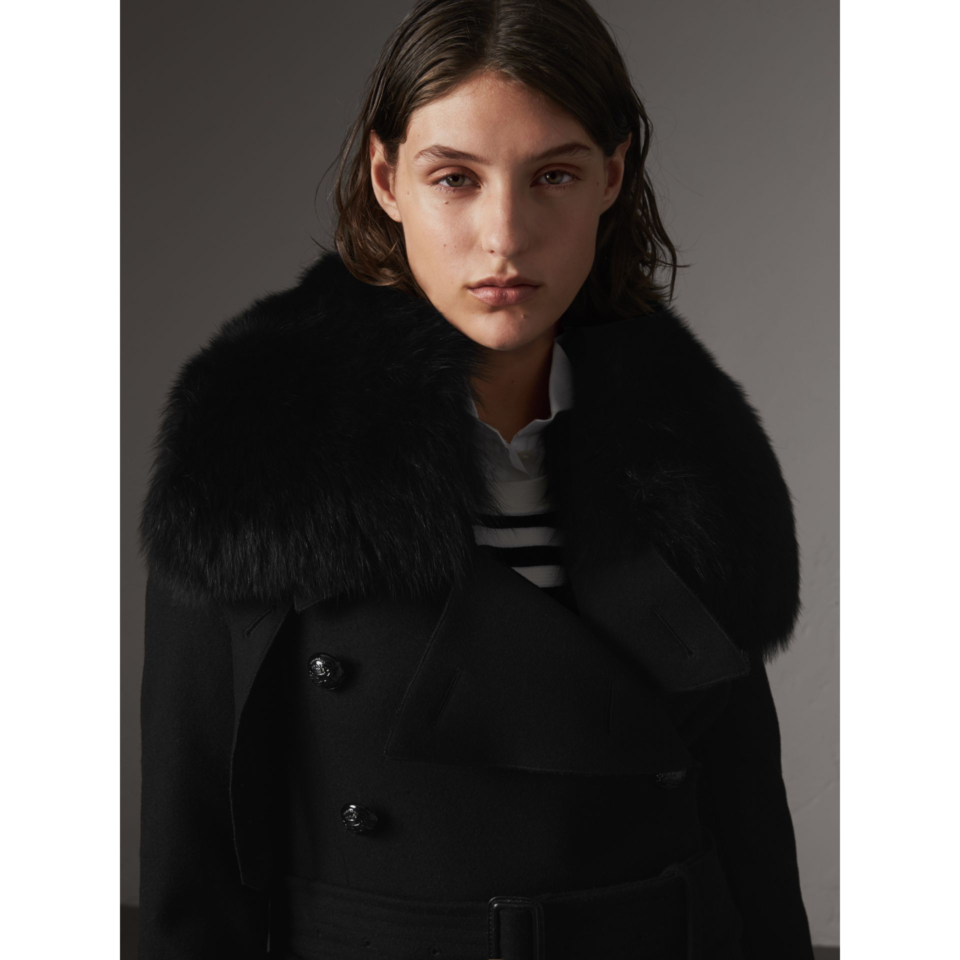 Detachable Fox Fur Trim Wool Blend Trench Coat in Black - Women | Burberry - gallery image 1