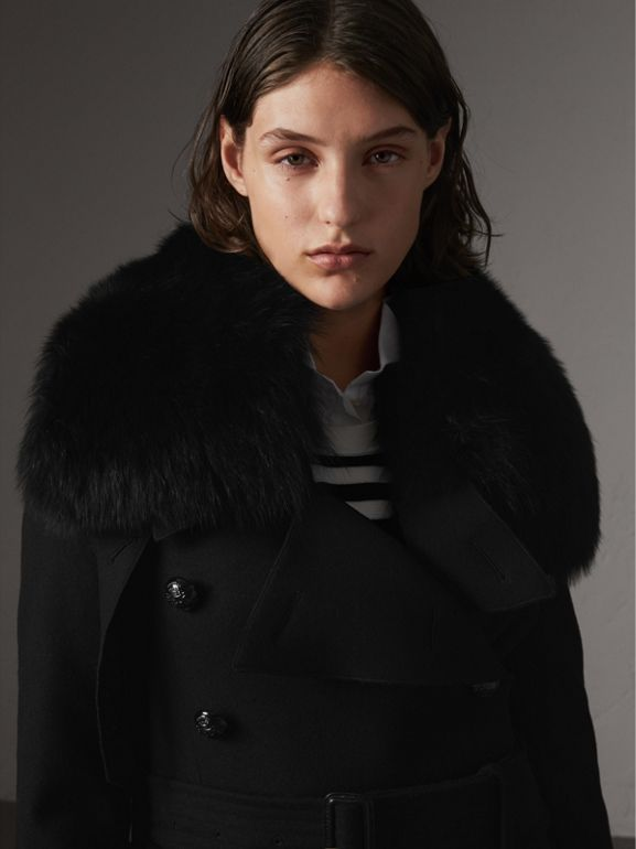 Detachable Fox Fur Trim Wool Blend Trench Coat in Black - Women | Burberry - cell image 1