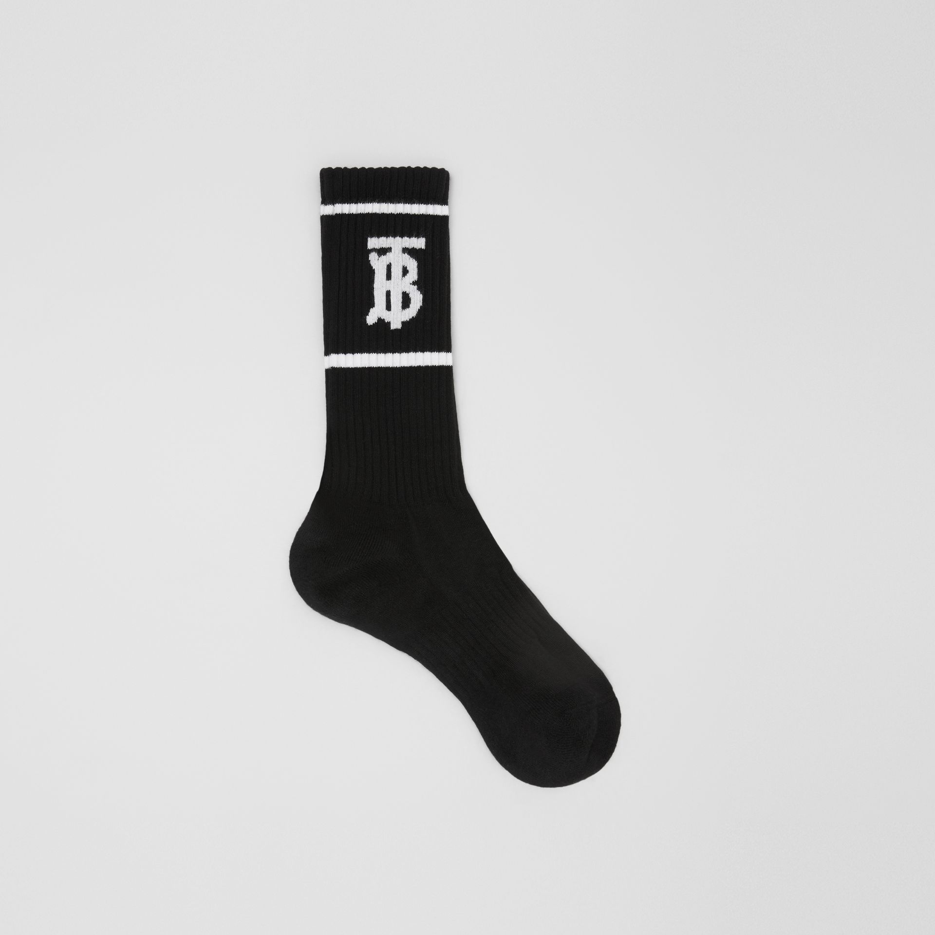 Monogram Motif Intarsia Socks in Black | Burberry - gallery image 0