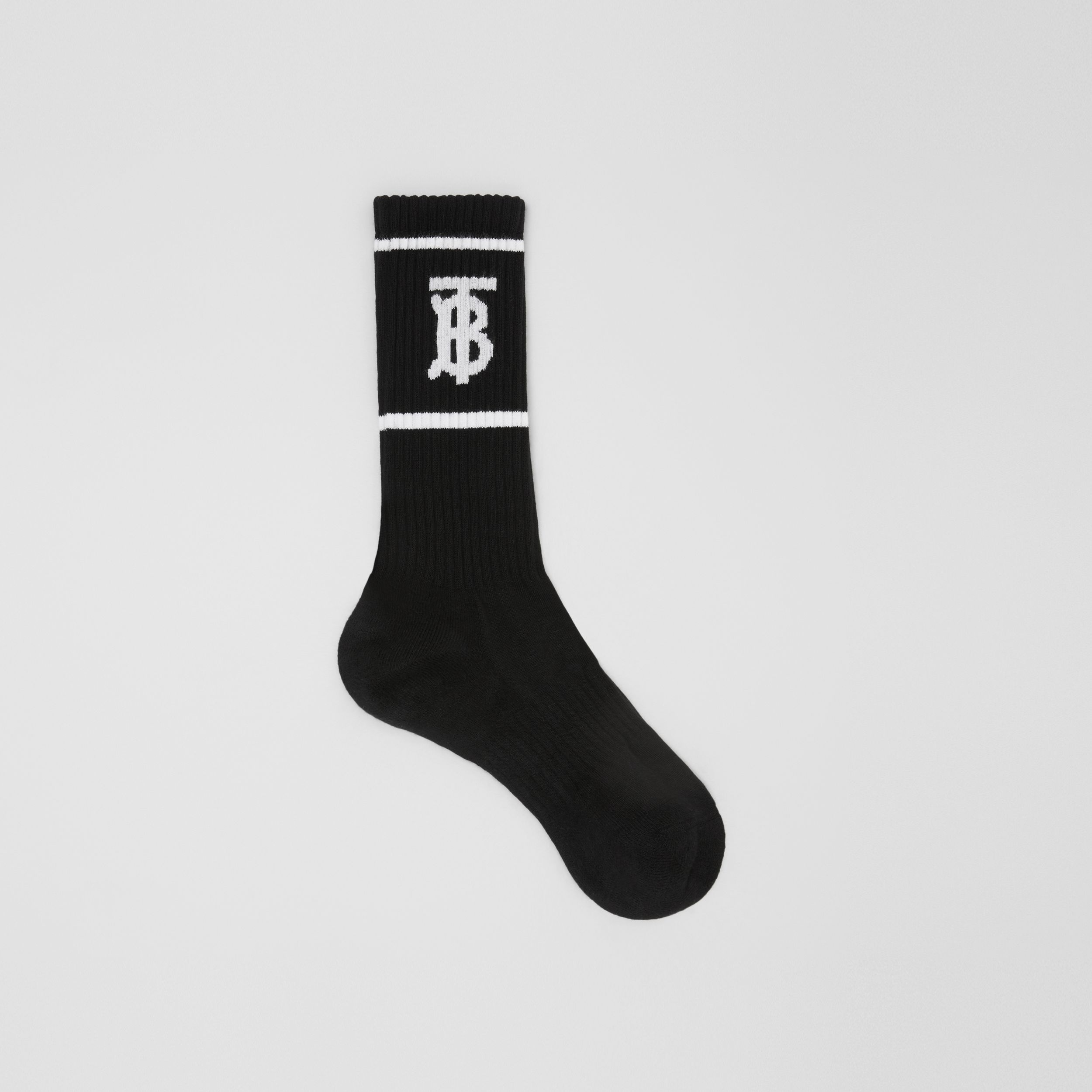 Monogram Motif Intarsia Socks in Black | Burberry - 1