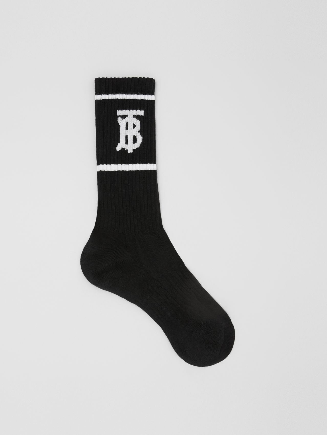 Monogram Motif Intarsia Socks in Black