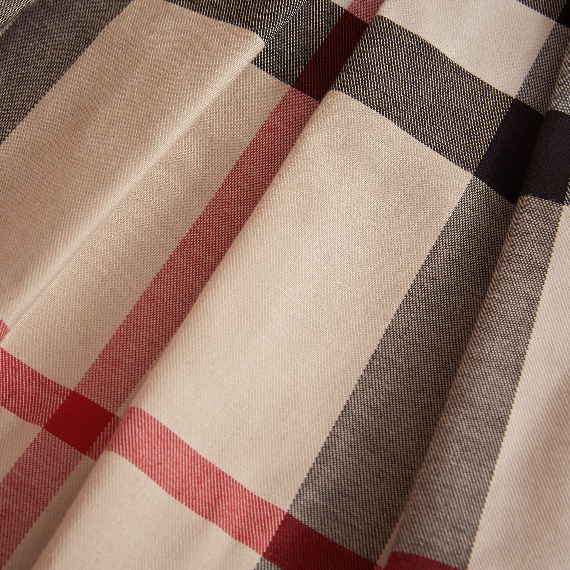 Pleated Check Cotton Skirt in Stone - Girl | Burberry United States - gallery image 2