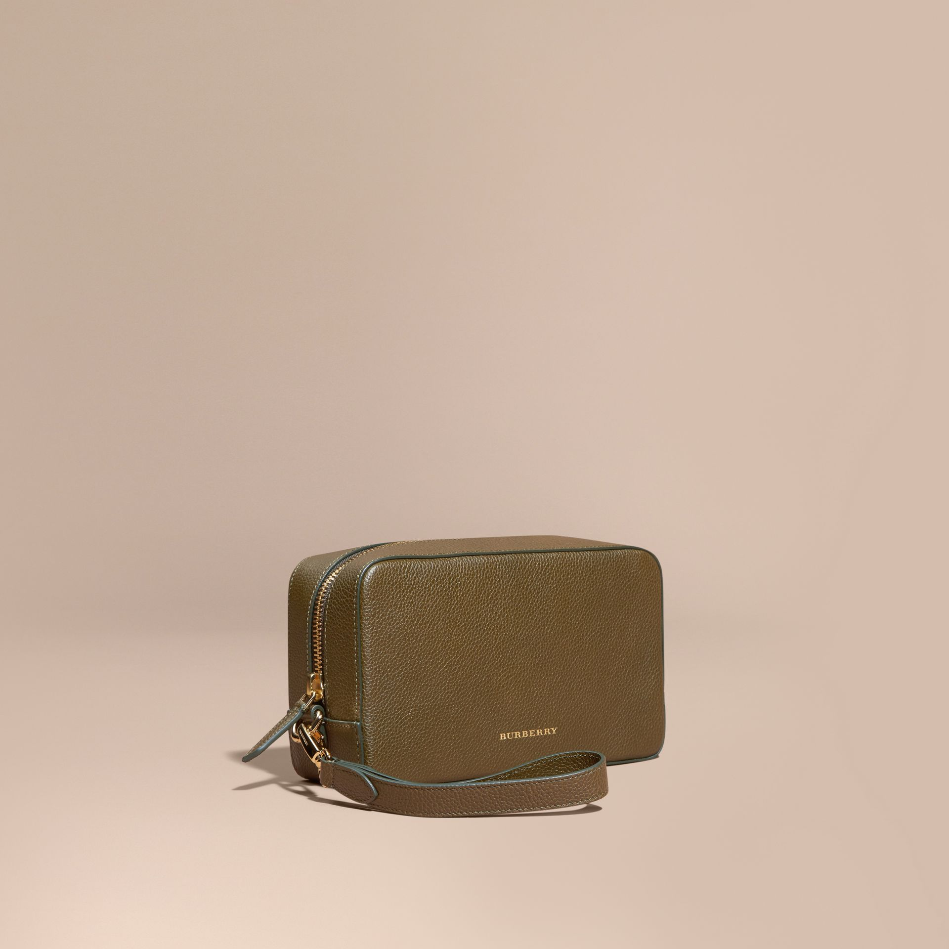 Olive green Grainy Leather Washbag Olive Green - gallery image 1