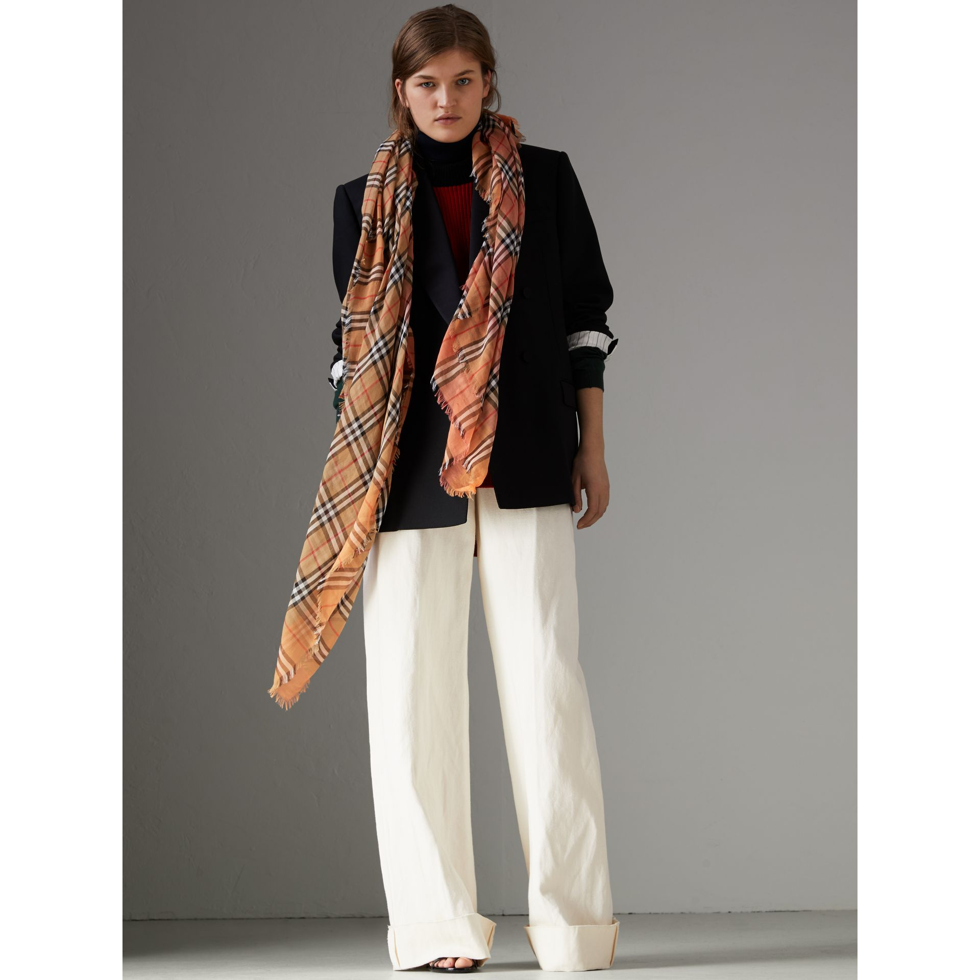 Two-tone Vintage Check Cotton Square Scarf in Coral Rose | Burberry United Kingdom - gallery image 2