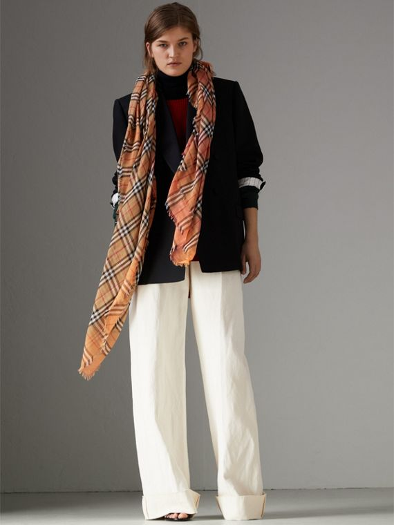 Two-tone Vintage Check Cotton Square Scarf in Coral Rose | Burberry Canada - cell image 2