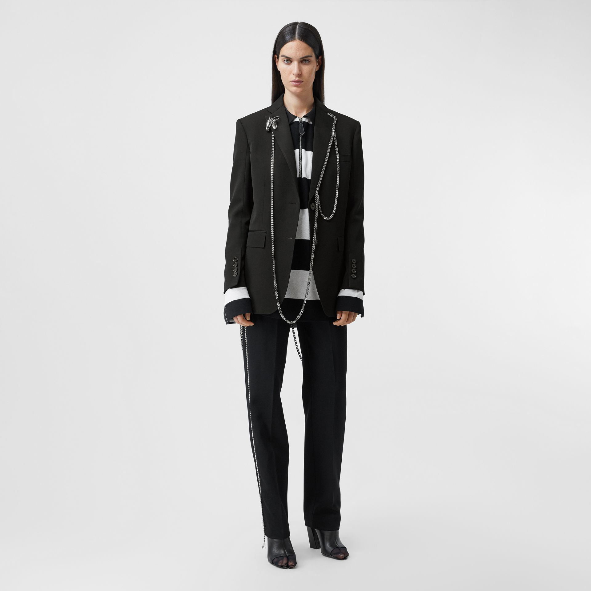 Chain Detail Wool Blazer in Black - Women | Burberry - gallery image 5