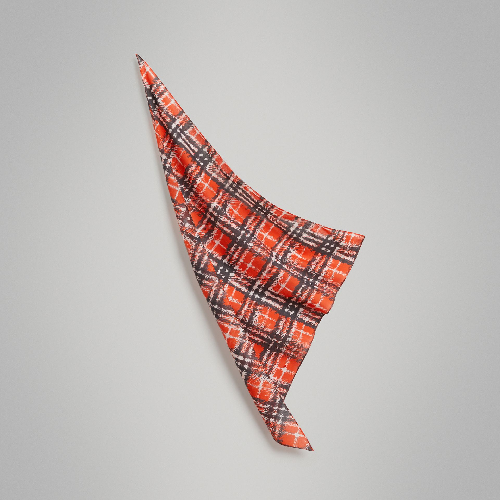Scribble Check Cotton Scarf in Bright Red | Burberry United Kingdom - gallery image 0