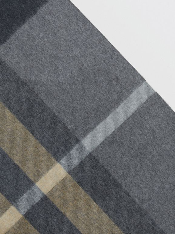 The Burberry Bandana in Check Cashmere in Mid Grey | Burberry Australia - cell image 1