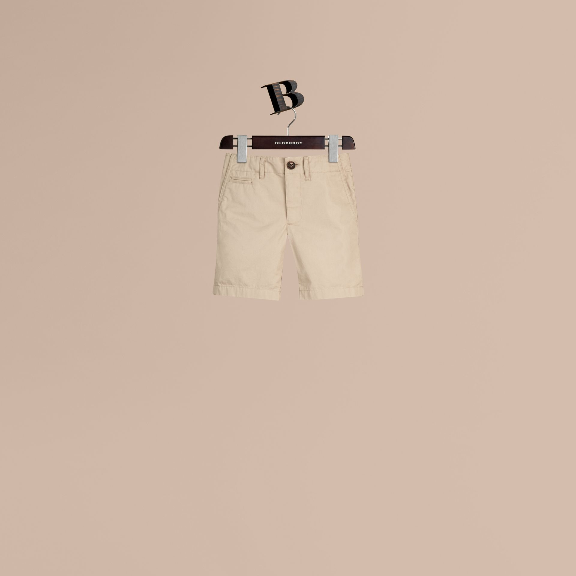 Check Detail Cotton Chino Shorts in Taupe - Boy | Burberry - gallery image 0