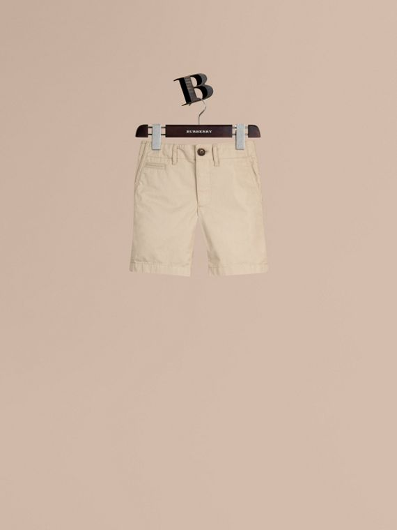 Check Detail Cotton Chino Shorts in Taupe - Boy | Burberry Singapore