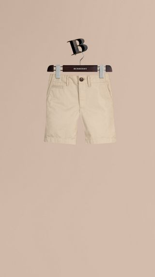 Check Detail Cotton Chino Shorts