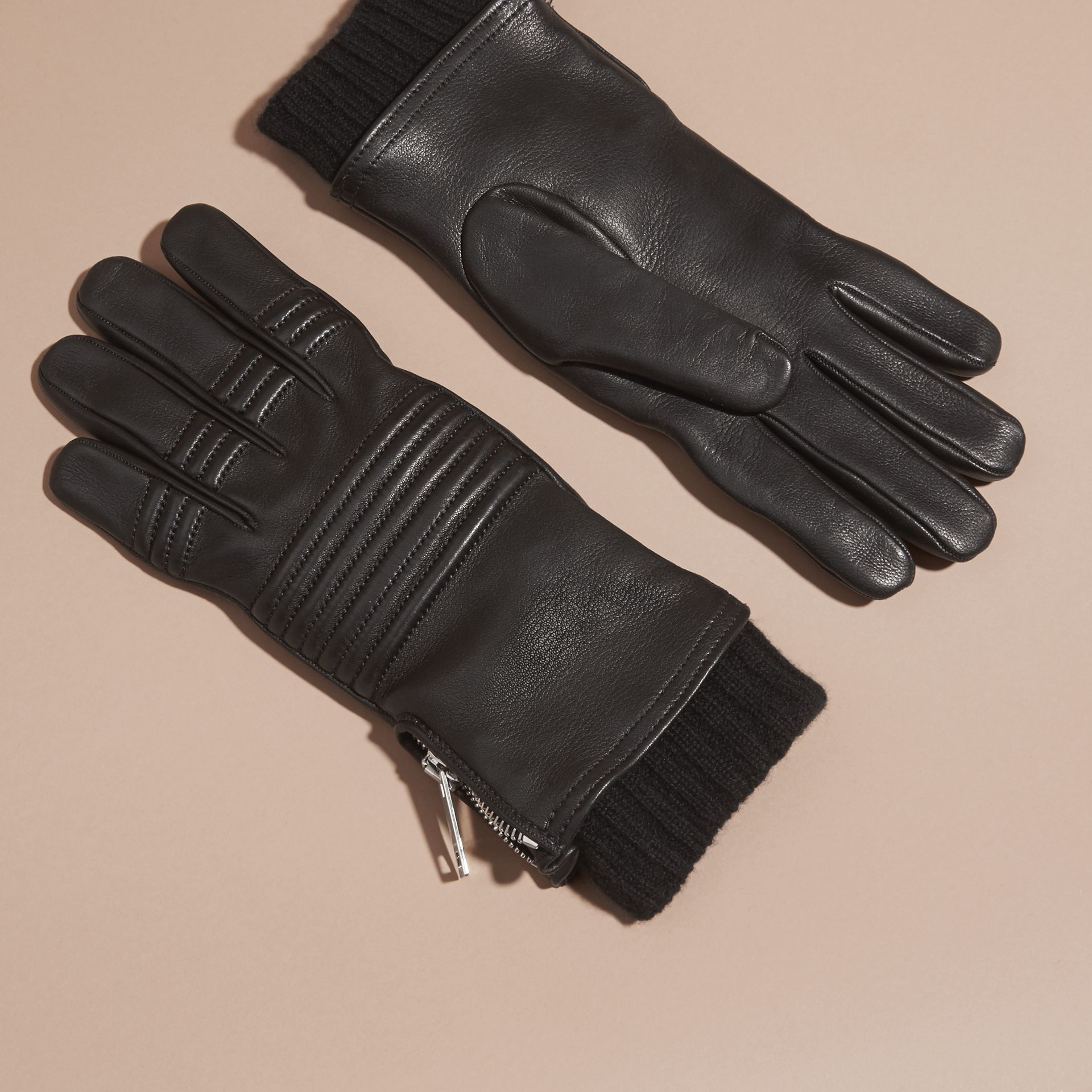 Biker Style Leather Gloves in Black - Men | Burberry - gallery image 3