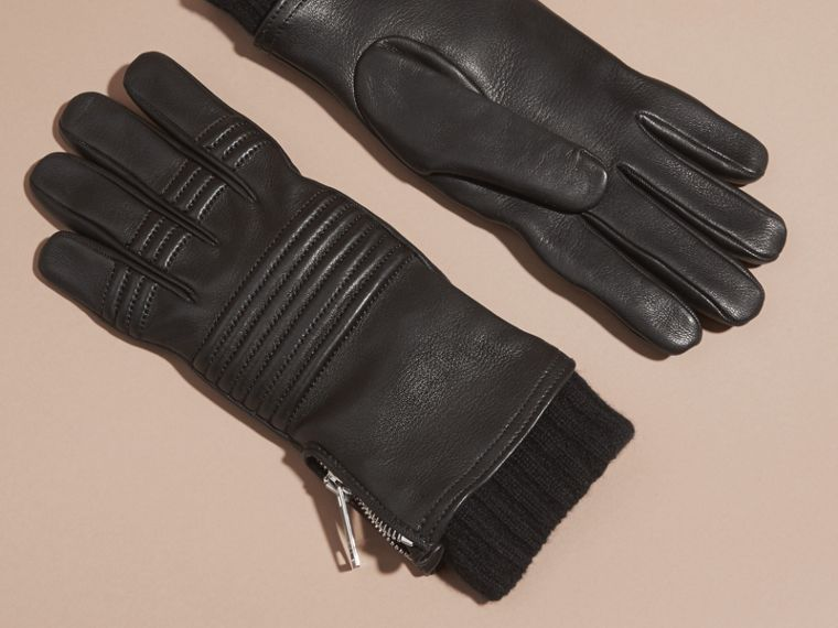 Black Biker Style Leather Gloves - cell image 2
