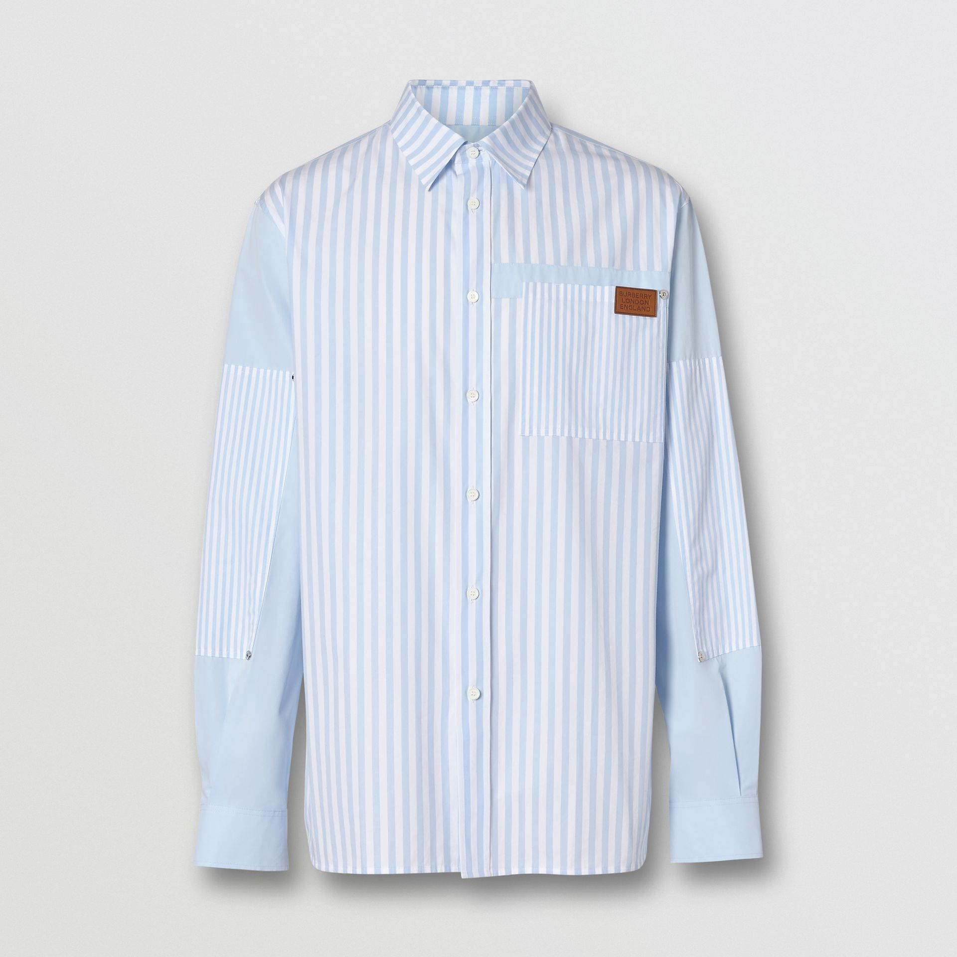 Logo Detail Patchwork Striped Cotton Shirt in Pale Blue Stripe - Men | Burberry - gallery image 3