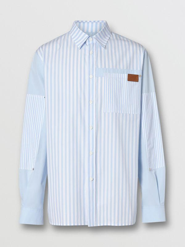 Logo Detail Patchwork Striped Cotton Shirt in Pale Blue Stripe - Men | Burberry United Kingdom - cell image 3