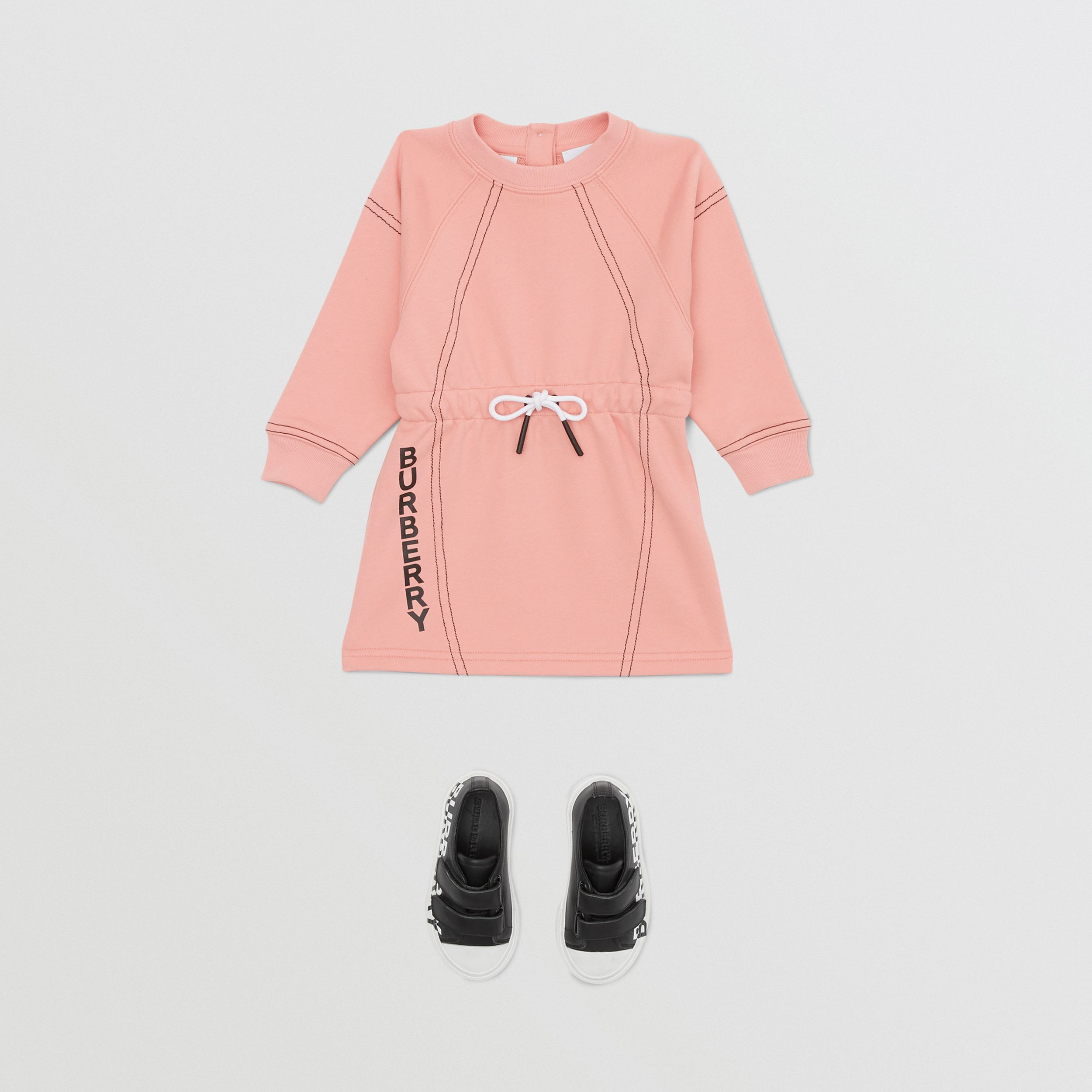 Logo Print Cotton Sweater Dress in Peach - Children | Burberry - 3