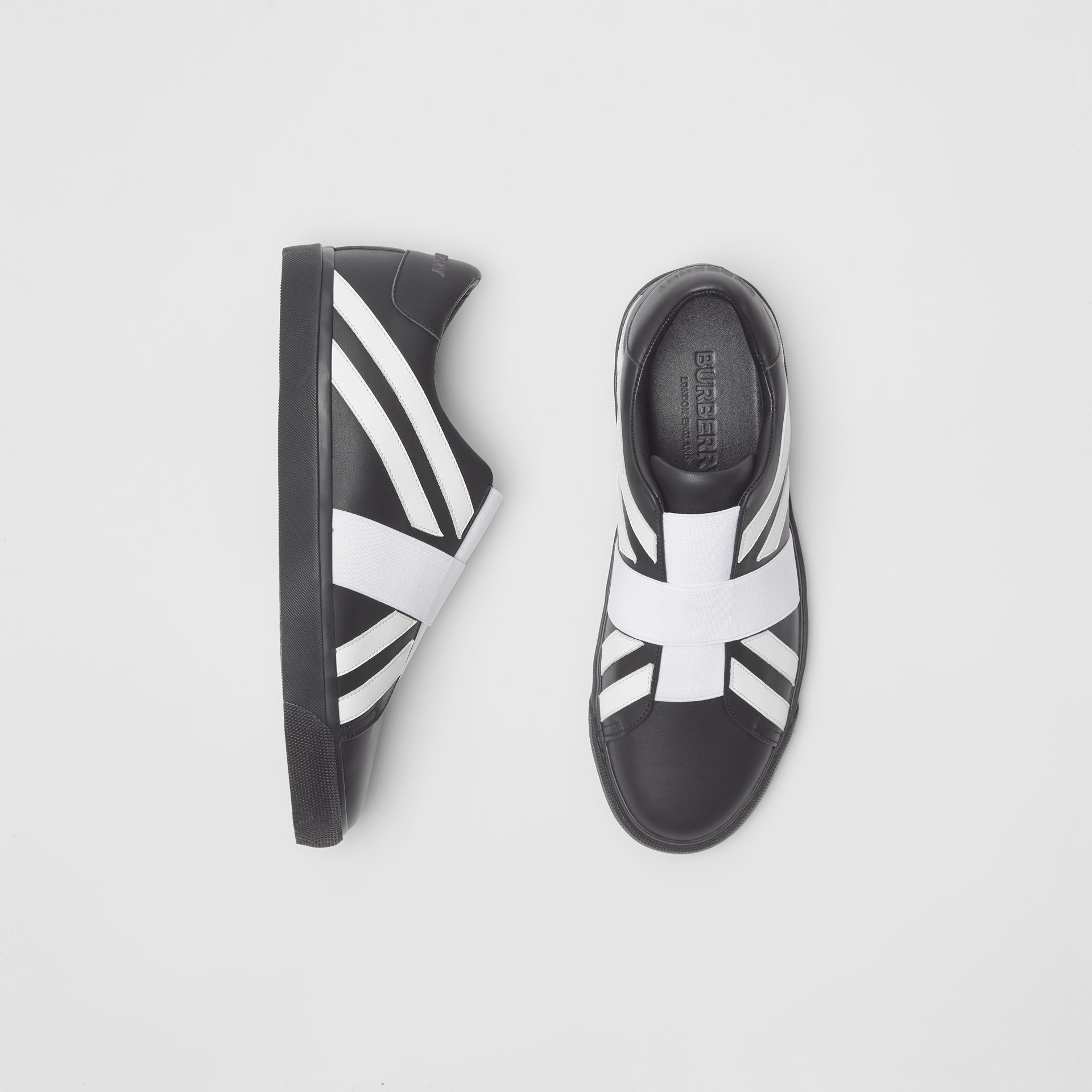Union Jack Motif Slip-on Sneakers in Black - Men | Burberry United Kingdom - gallery image 0