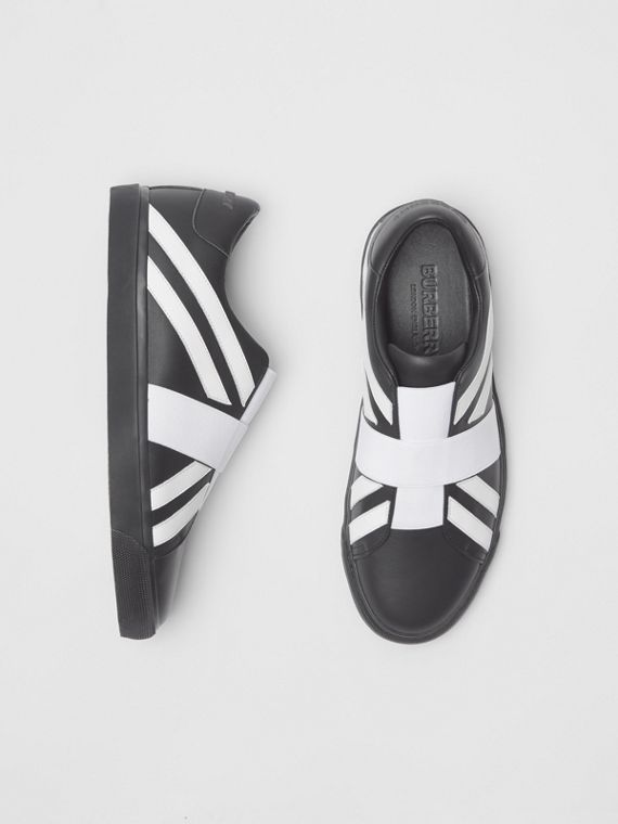 Union Jack Motif Slip-on Sneakers in Black
