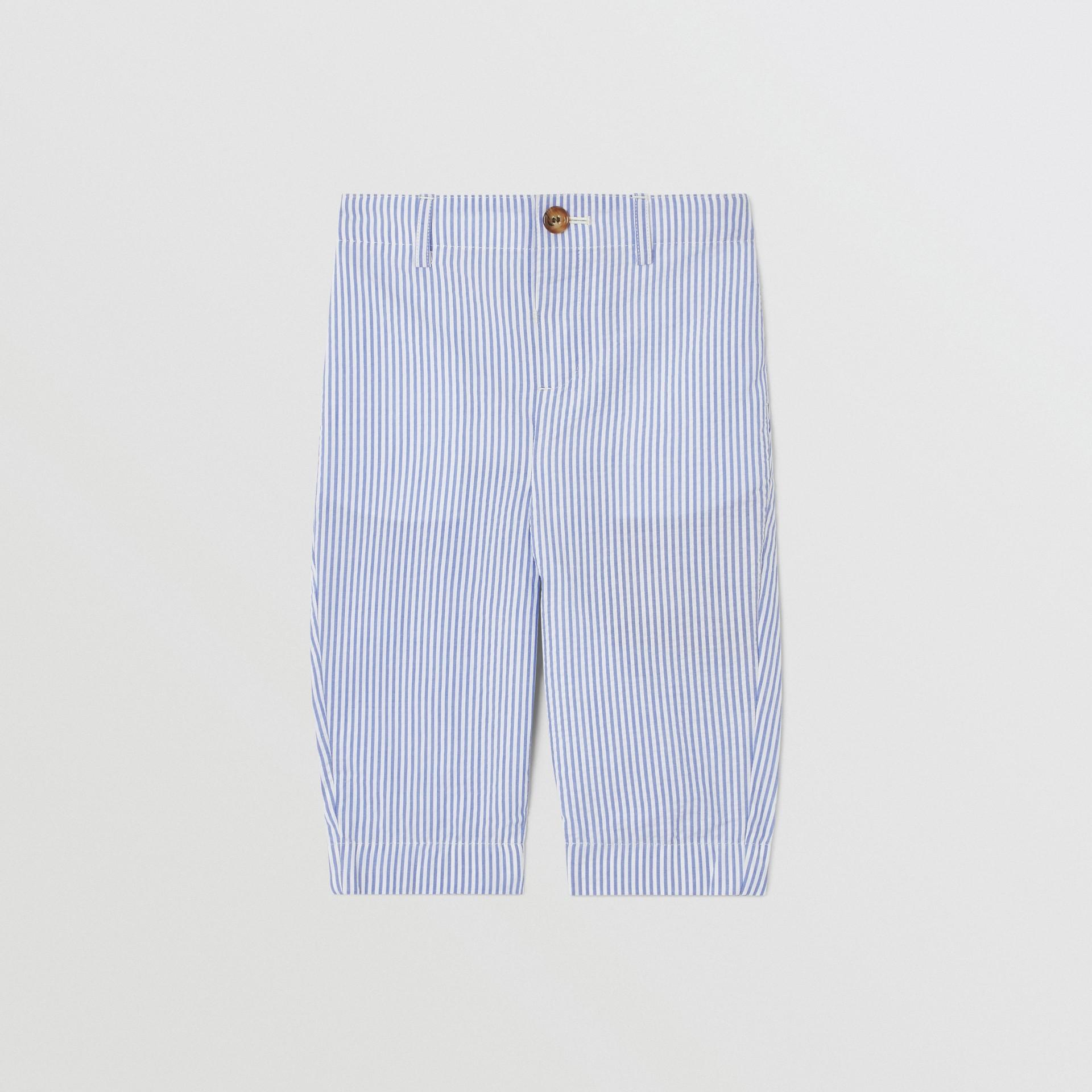 Striped Cotton Seersucker Tailored Trousers in Cornflower Blue - Children | Burberry - gallery image 0