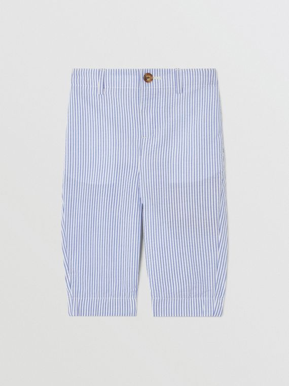 Striped Cotton Seersucker Tailored Trousers in Cornflower Blue