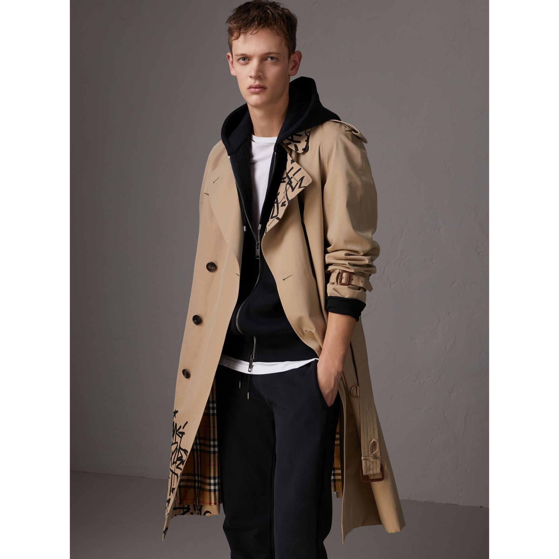 Burberry x Kris Wu Gabardine Trench Coat in Honey - Men | Burberry - gallery image 6