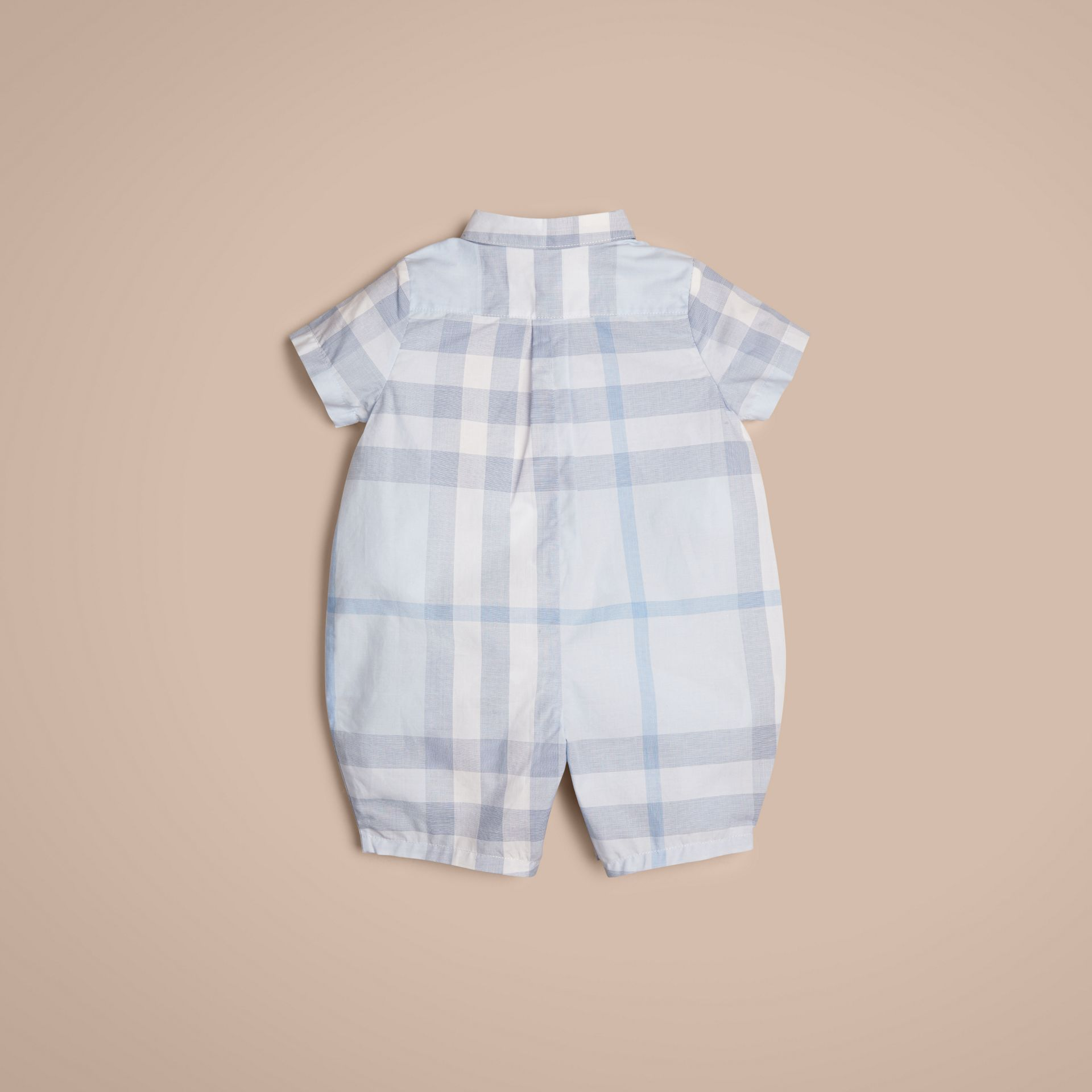 Ice blue Check Cotton Playsuit Ice Blue - gallery image 3